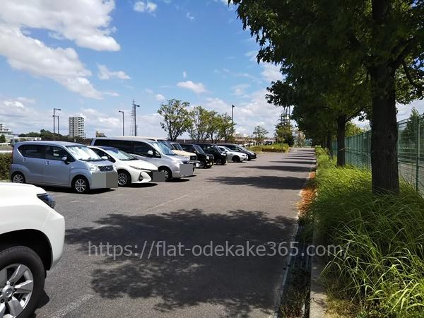 ミササガパークのデイキャンプ場の駐車場の様子