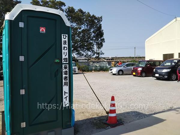 ひまわり畑の駐車場の写真